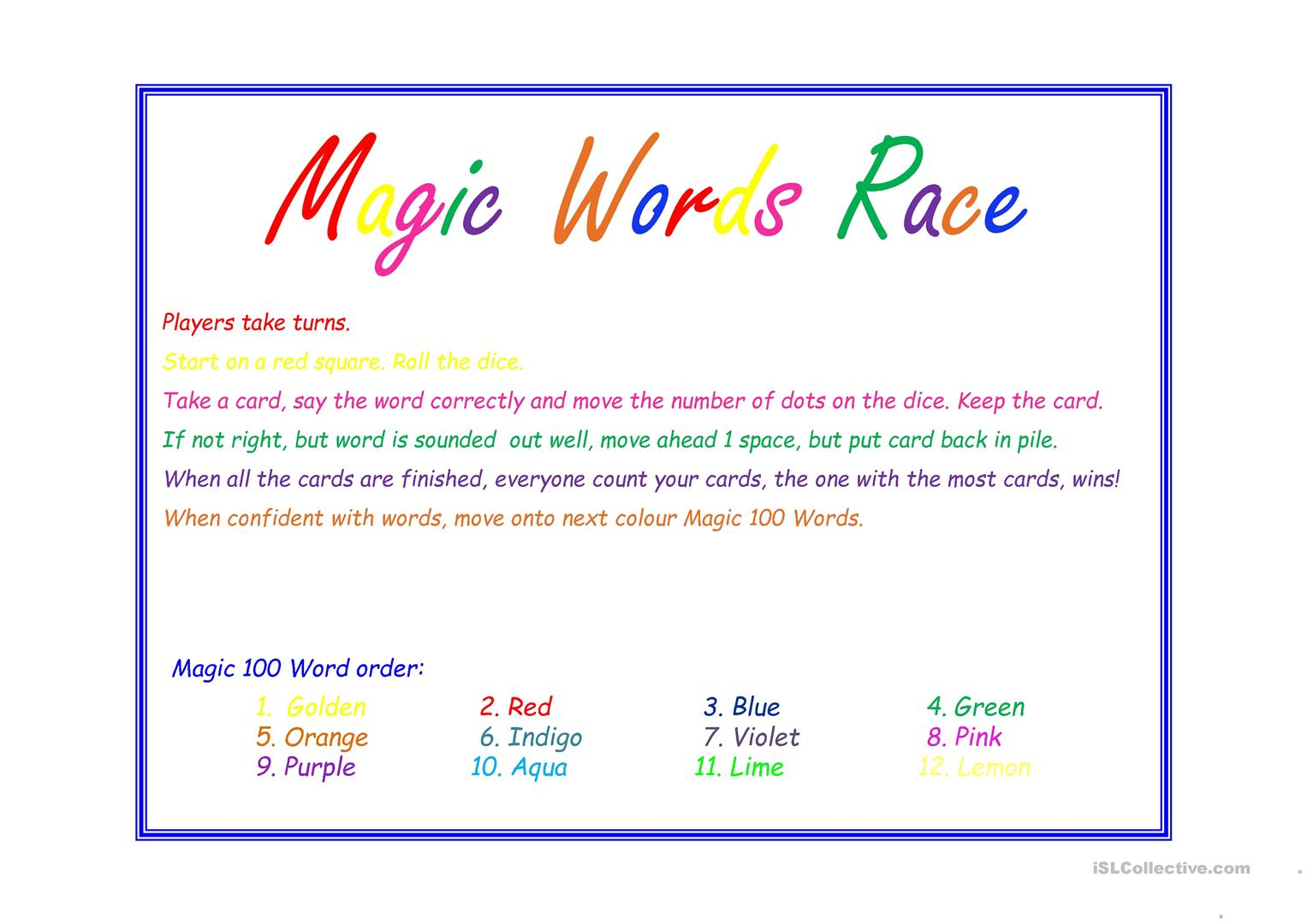 Magic 200 Words Game Worksheet