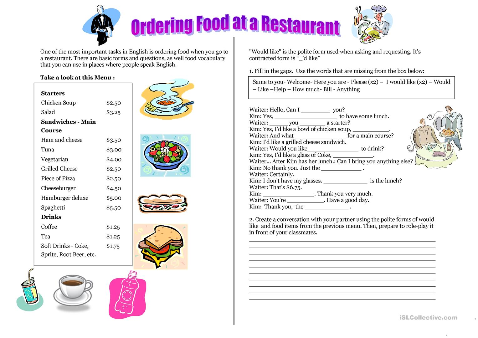 For Vocabulary Worksheet Ordering Food