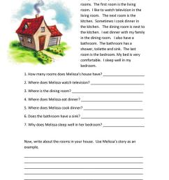 Rooms of the House Reading Comprehension - English ESL Worksheets for  distance learning and physical classrooms [ 1079 x 763 Pixel ]