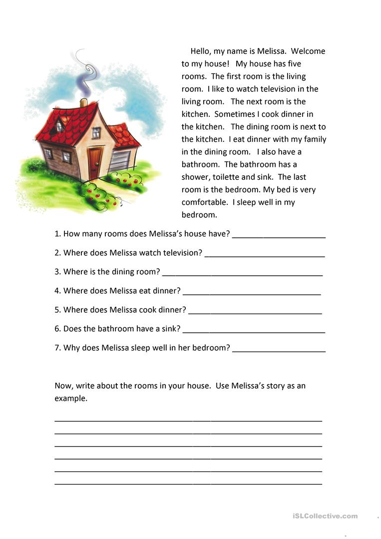 medium resolution of Rooms of the House Reading Comprehension - English ESL Worksheets for  distance learning and physical classrooms