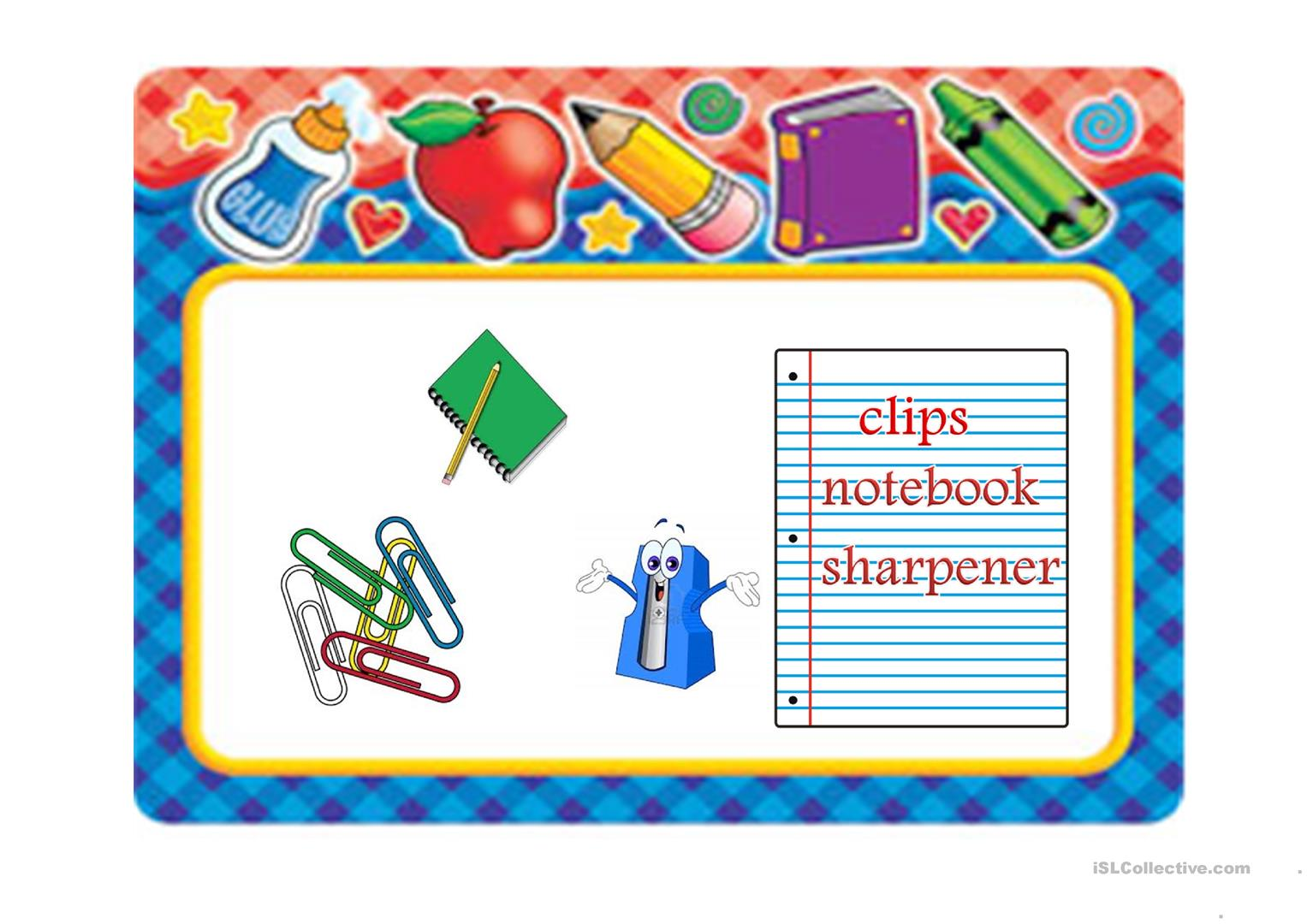 School Supplies Worksheet