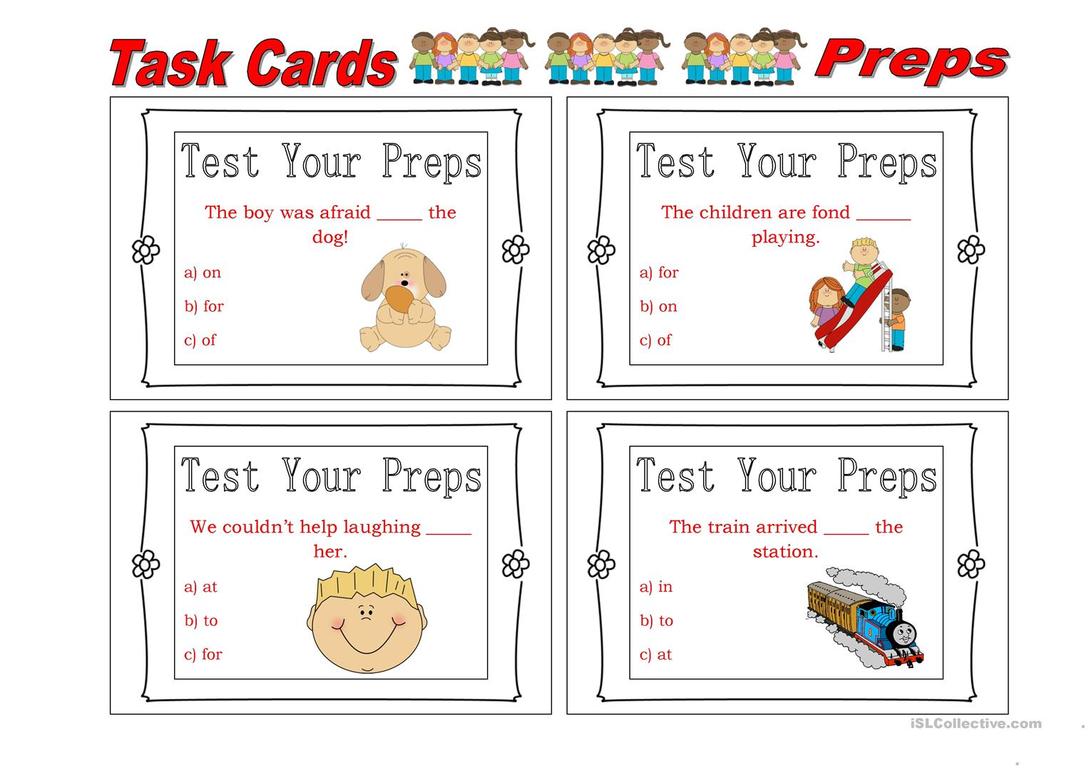 Task Cards Prepositions 4