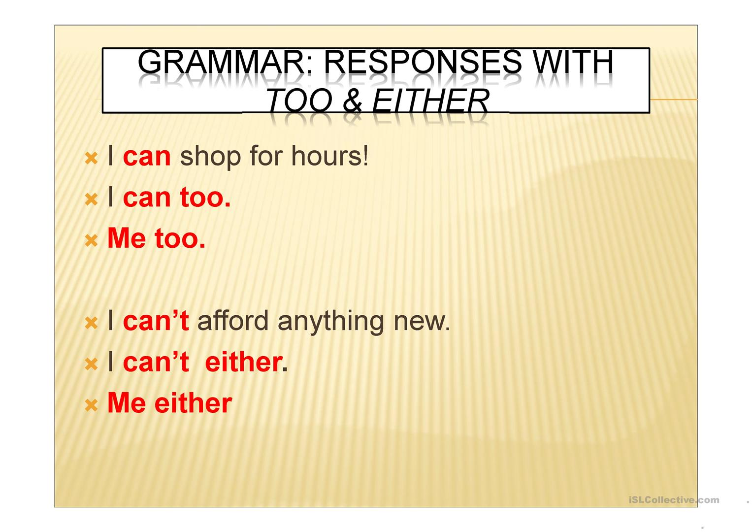 Too And Either Worksheet