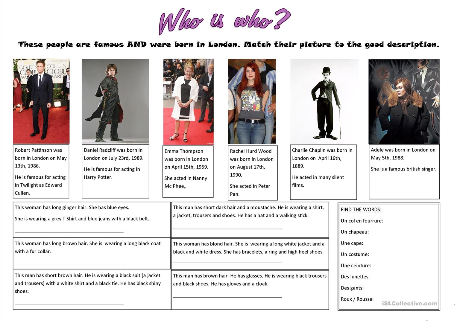Who S Who Worksheet