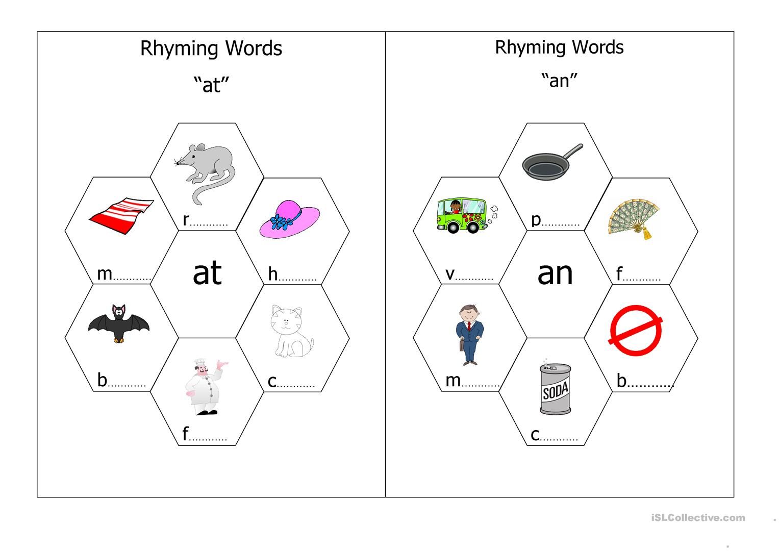 English Worksheet Rhyming Words