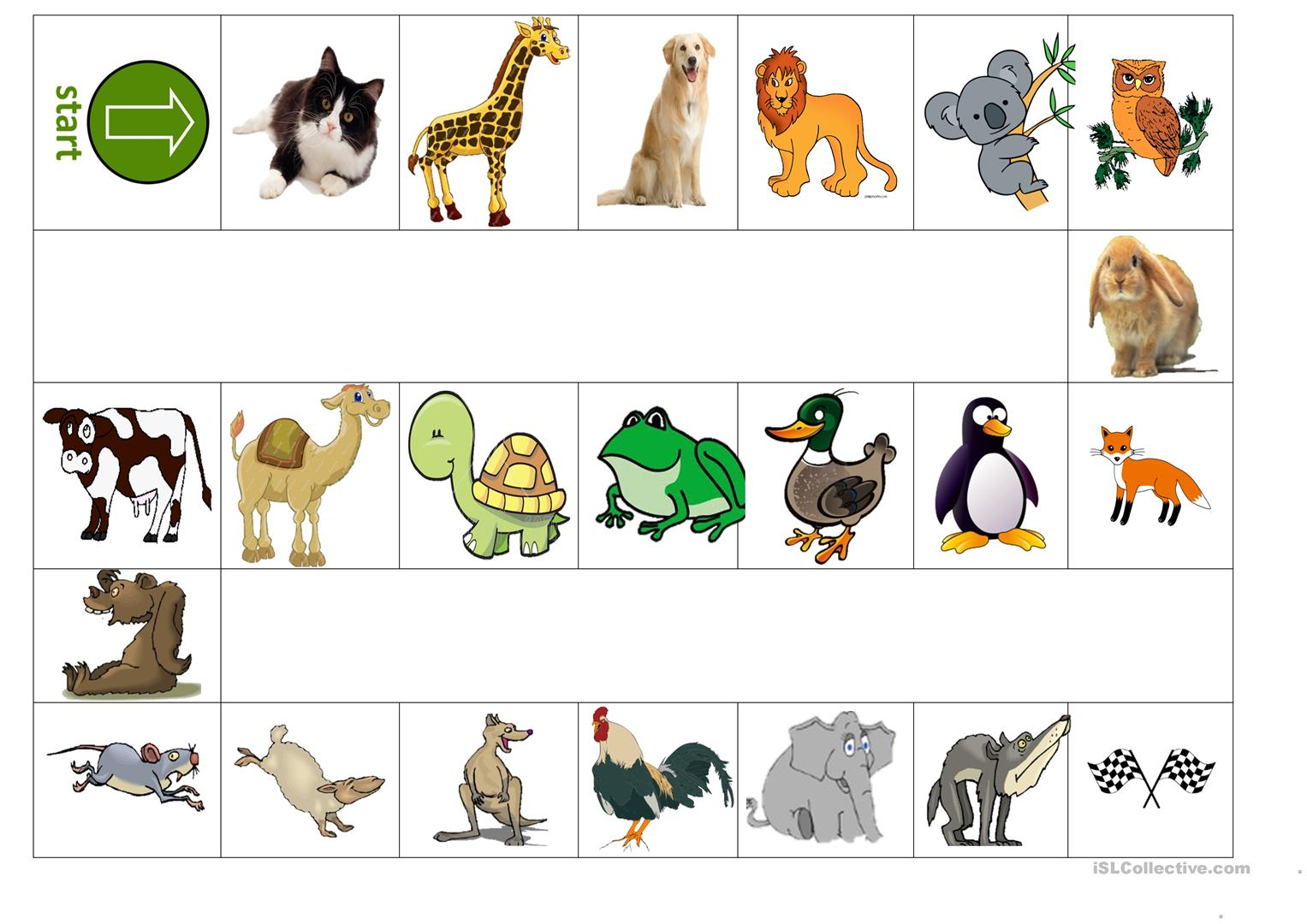 Animals Board Game Worksheet