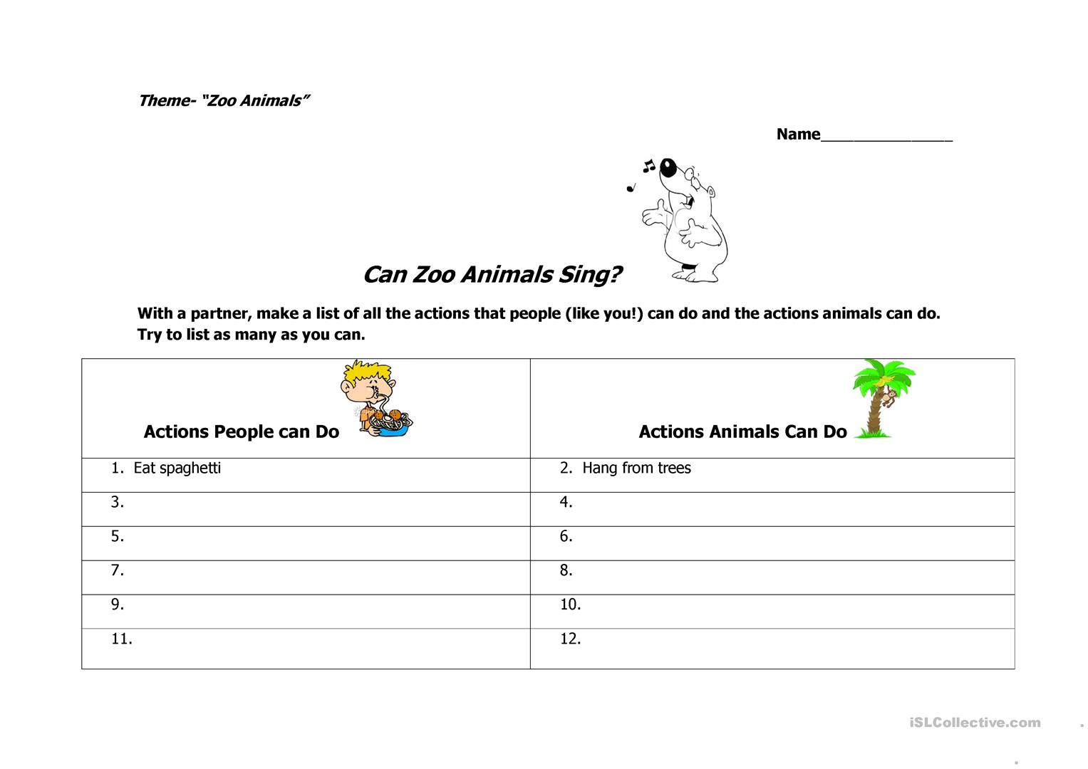 Can Zoo Animals Sing Worksheet