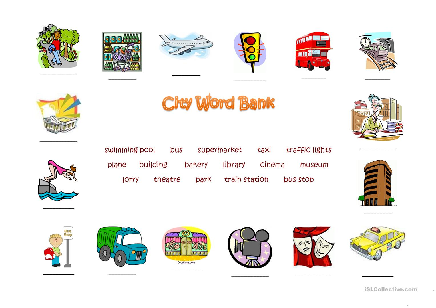 City Word Bank Worksheet