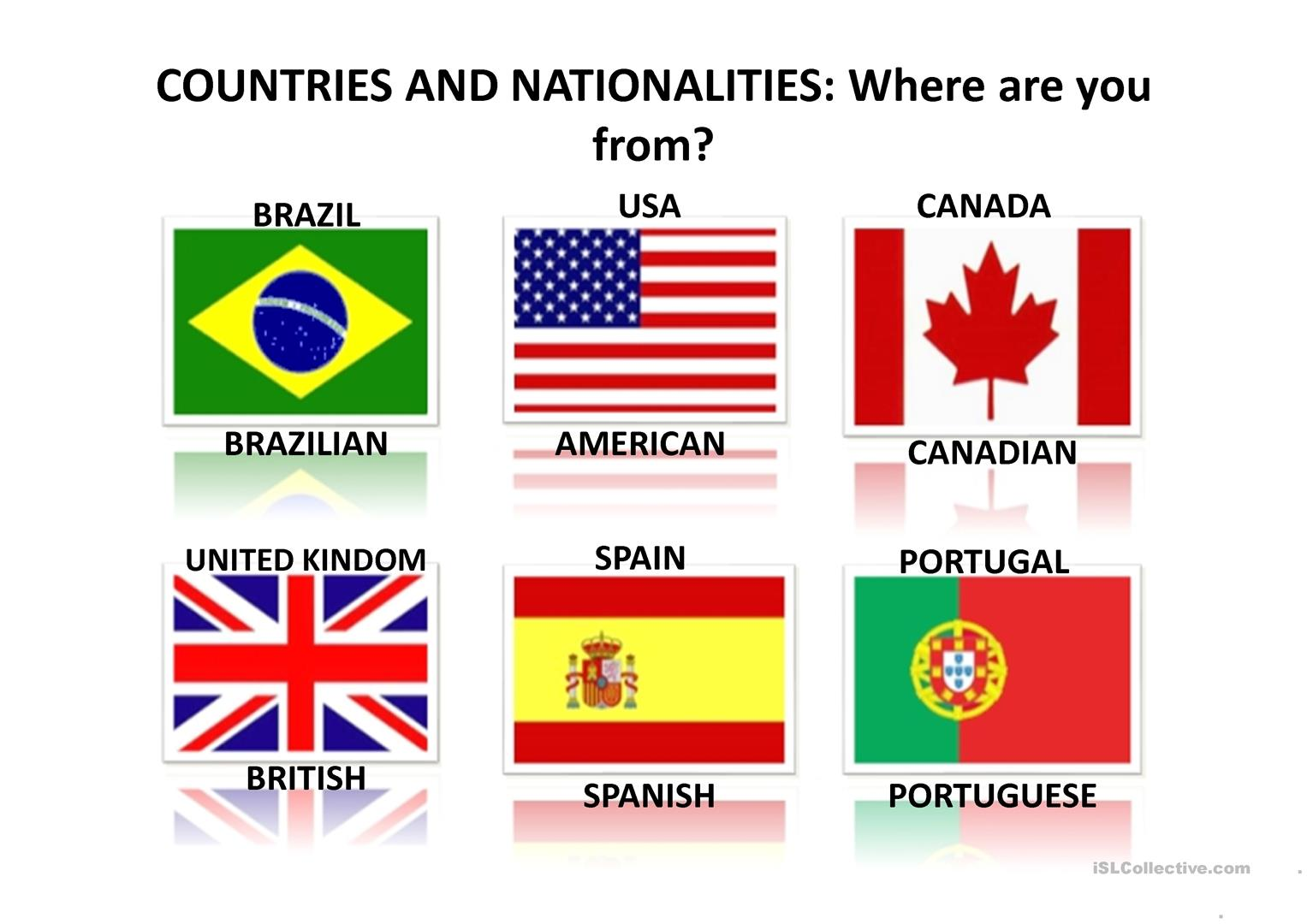 Countries And Nationalities Worksheet