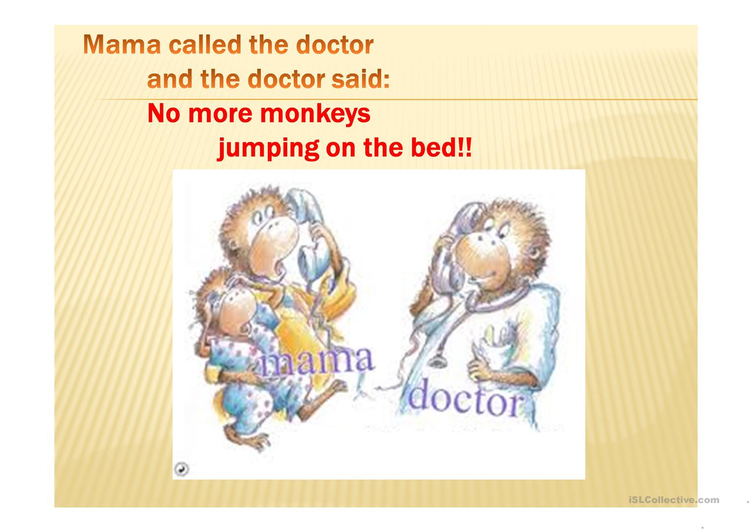 No More Monkeys Jumping On The Bed Ppt Worksheet