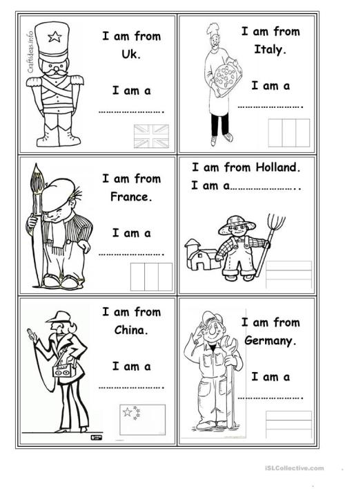 small resolution of Occupations and countries - English ESL Worksheets for distance learning  and physical classrooms