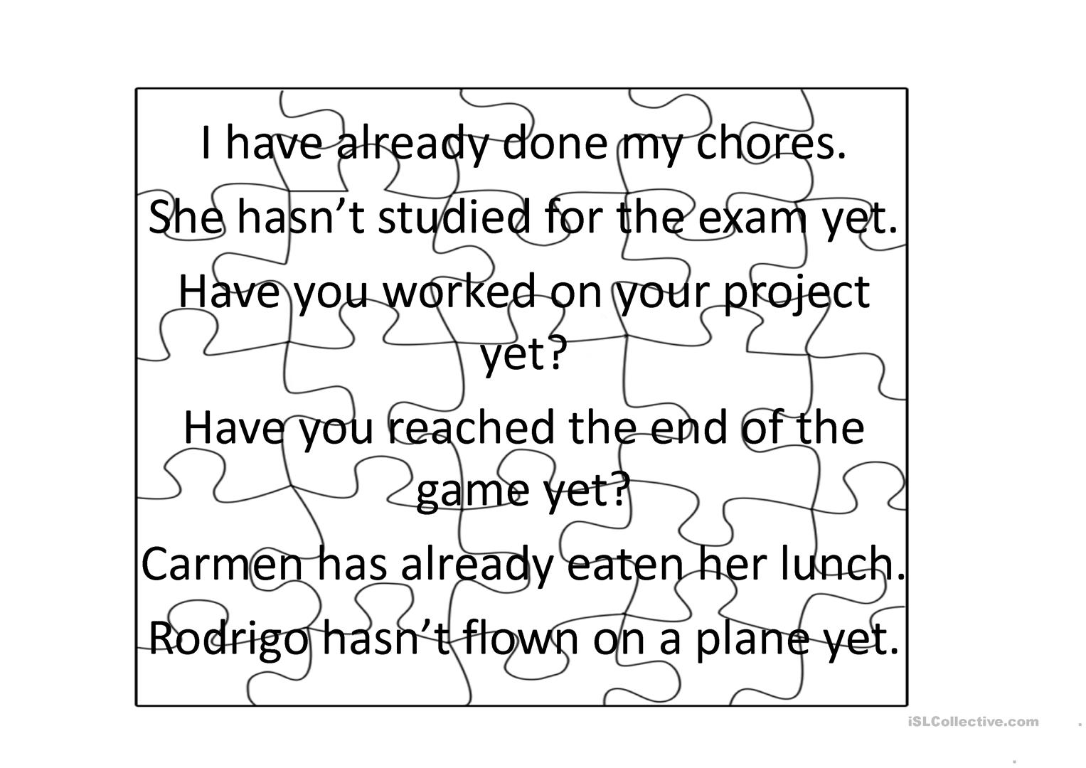 Present Perfect Yet And Already Jigsaw Worksheet