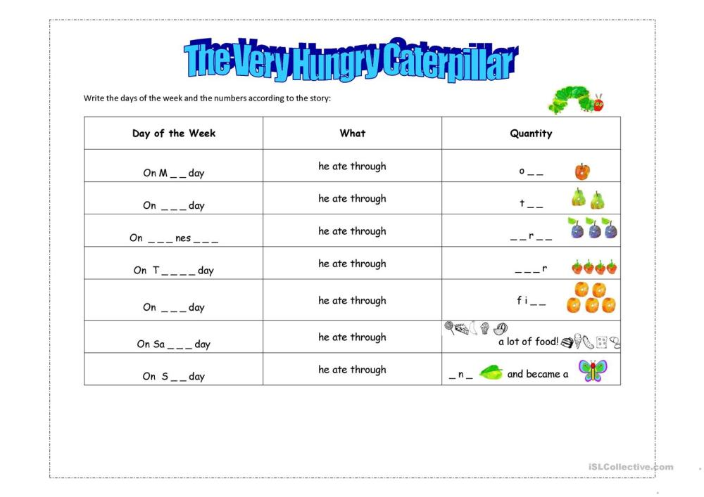 medium resolution of English ESL the very hungry caterpillar worksheets - Most downloaded (16  Results)