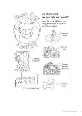 20 FREE ESL earth day worksheets