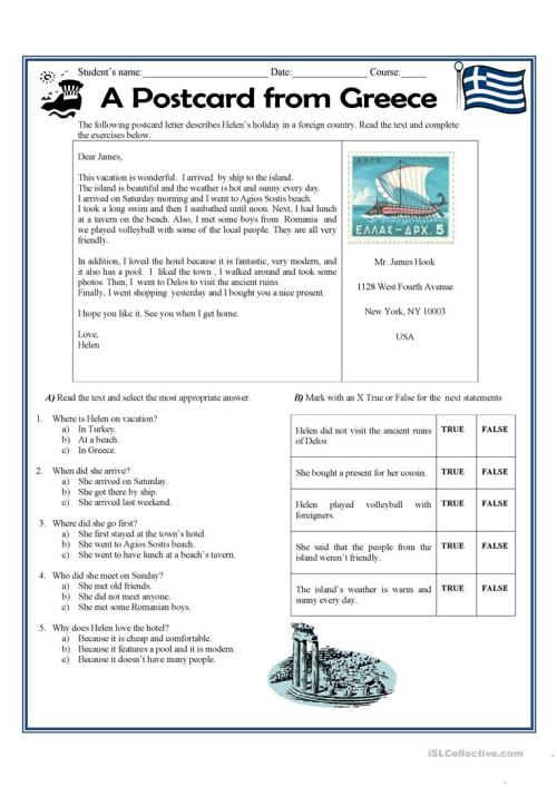 small resolution of A postcard letter from Greece - English ESL Worksheets for distance  learning and physical classrooms