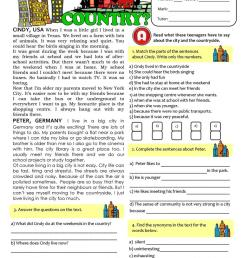CITY vs COUNTRYLIFE - TEST (7th grade) - English ESL Worksheets for  distance learning and physical classrooms [ 1079 x 763 Pixel ]