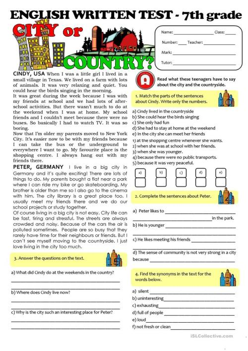 small resolution of CITY vs COUNTRYLIFE - TEST (7th grade) - English ESL Worksheets for  distance learning and physical classrooms