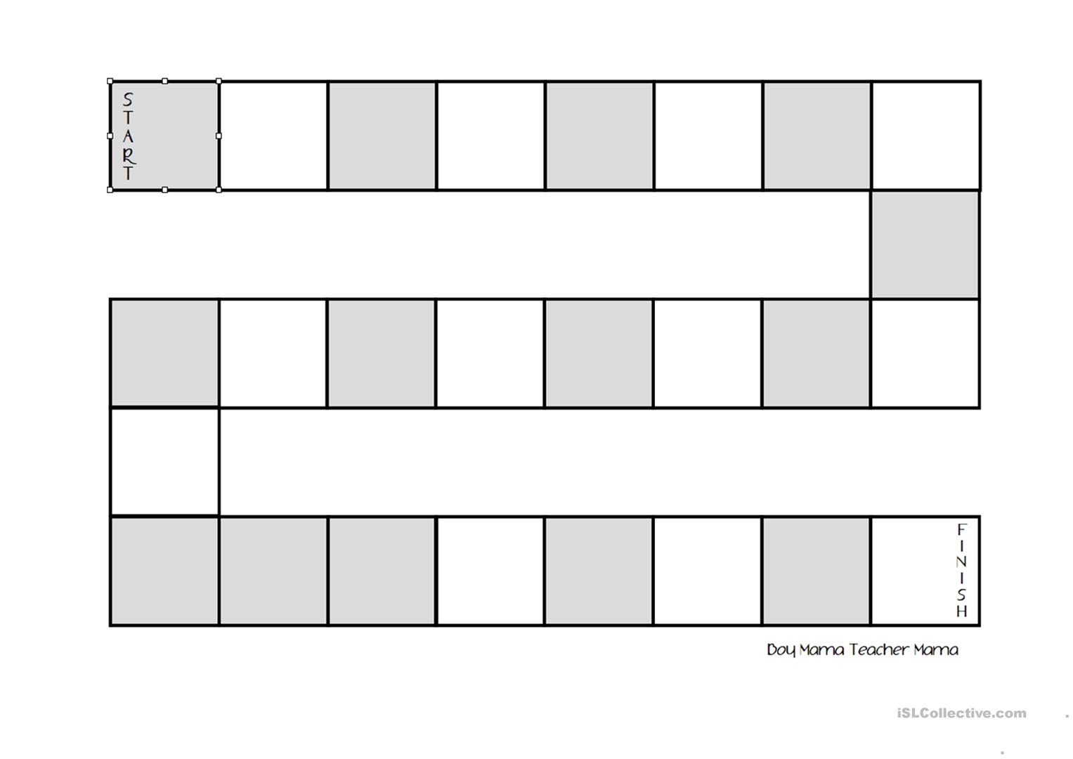 Empty Board For Games Worksheet