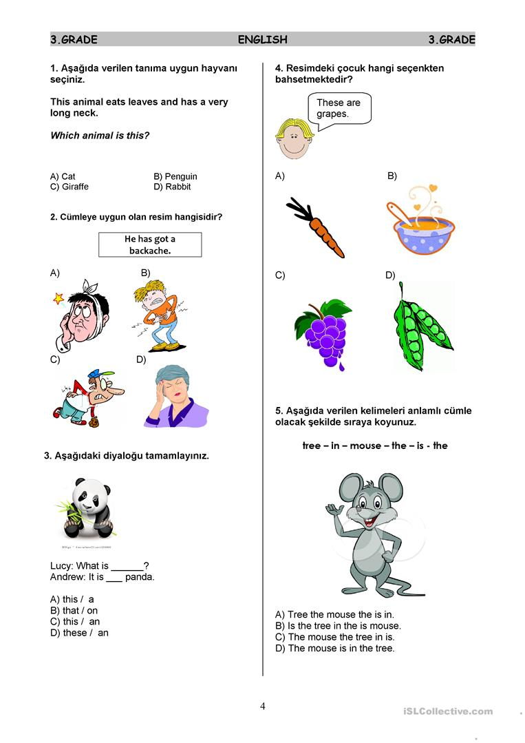 hight resolution of ESL Test 3rd Graders - English ESL Worksheets for distance learning and  physical classrooms
