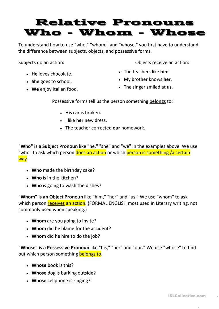 hight resolution of Relative Pronouns: Who - Whom - Whose - English ESL Worksheets for distance  learning and physical classrooms
