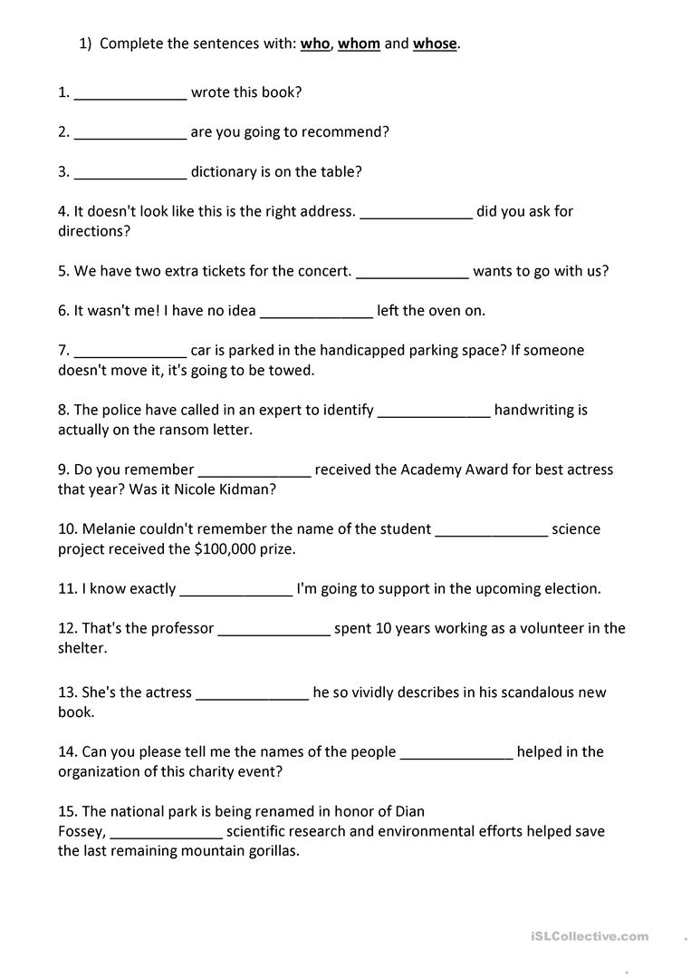 medium resolution of Relative Pronouns: Who - Whom - Whose - English ESL Worksheets for distance  learning and physical classrooms