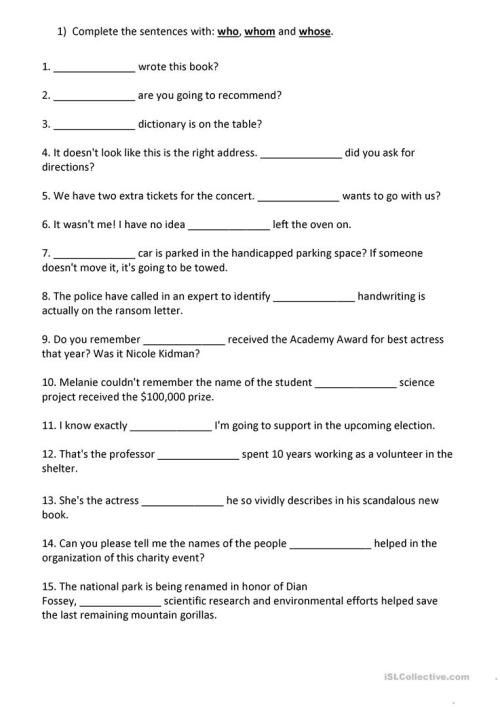 small resolution of Relative Pronouns: Who - Whom - Whose - English ESL Worksheets for distance  learning and physical classrooms