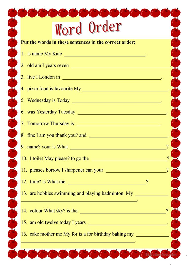 hight resolution of English ESL sentence structure worksheets - Most downloaded (45 Results)