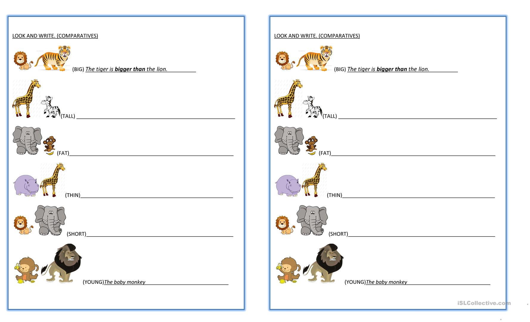 Comparatives Animals Worksheet