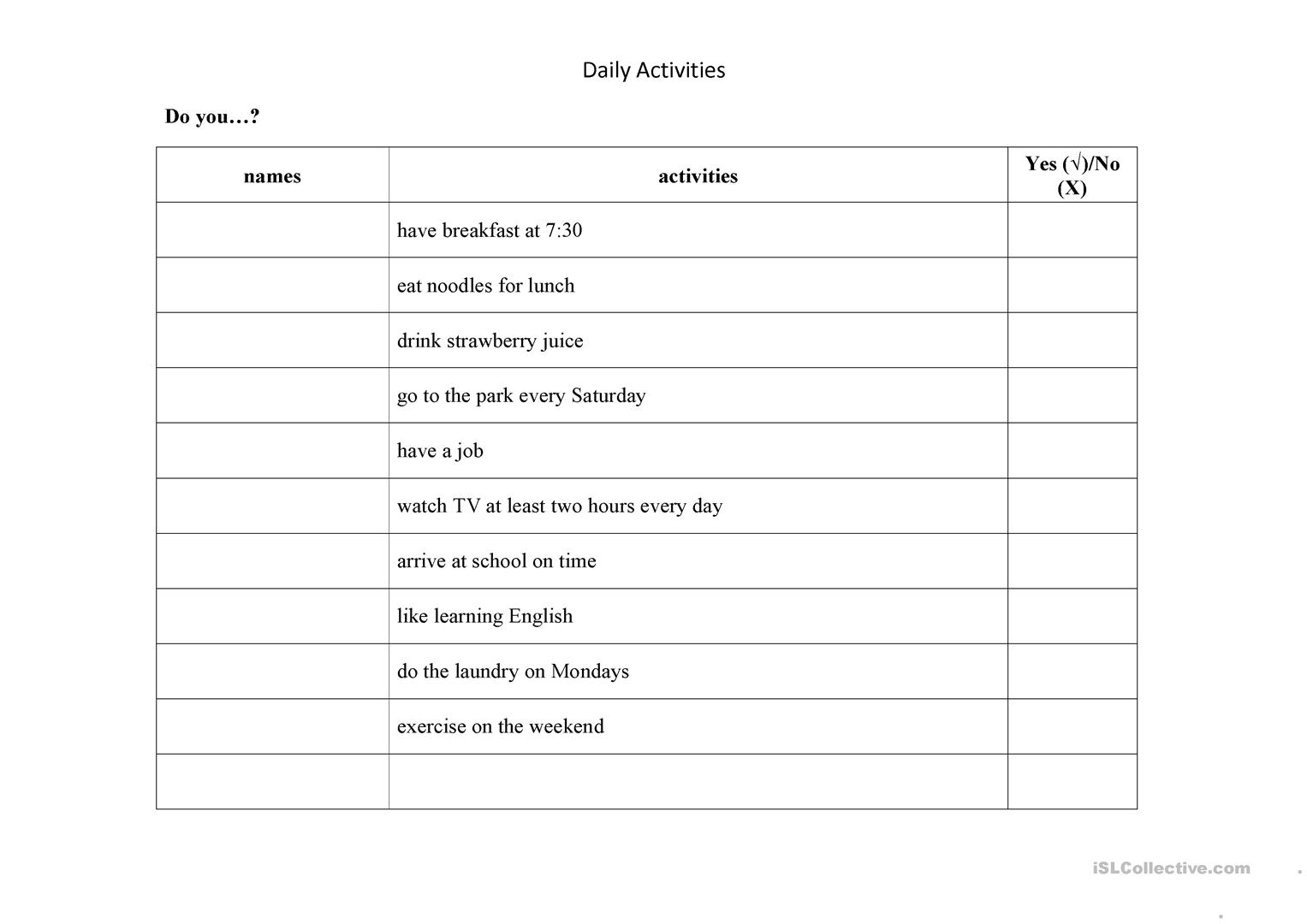 Daily Activities Quesionnaire Worksheet