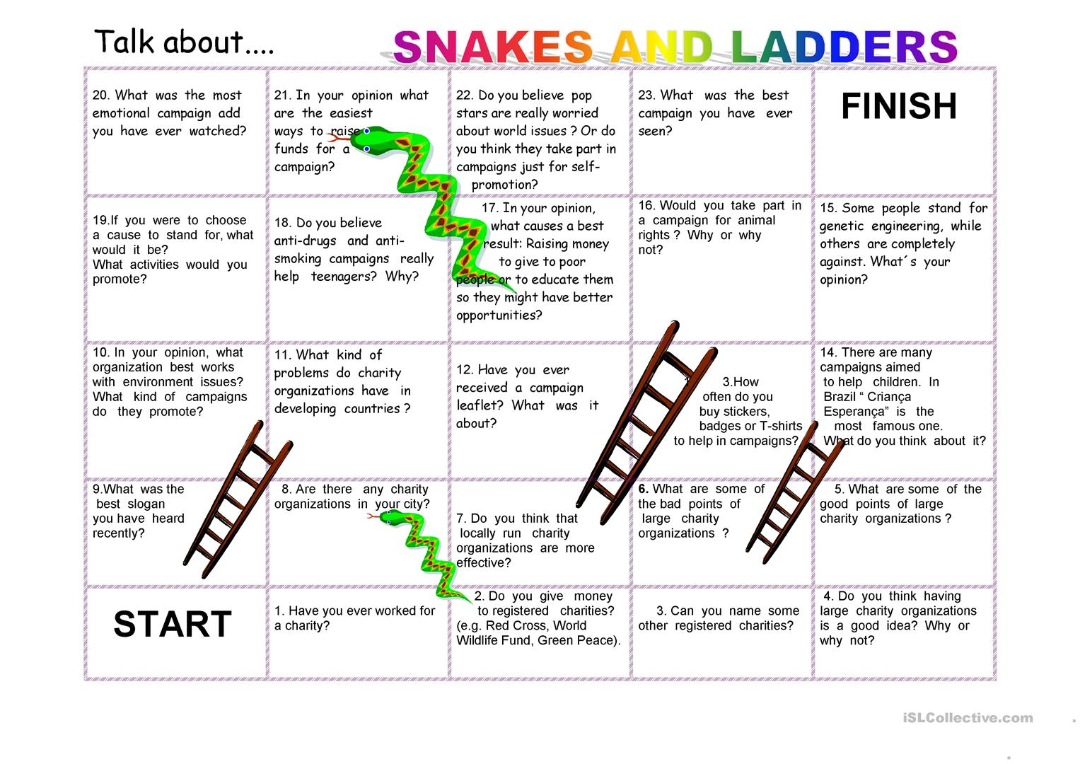 Snakes And Ladders Talking About Charity Worksheet