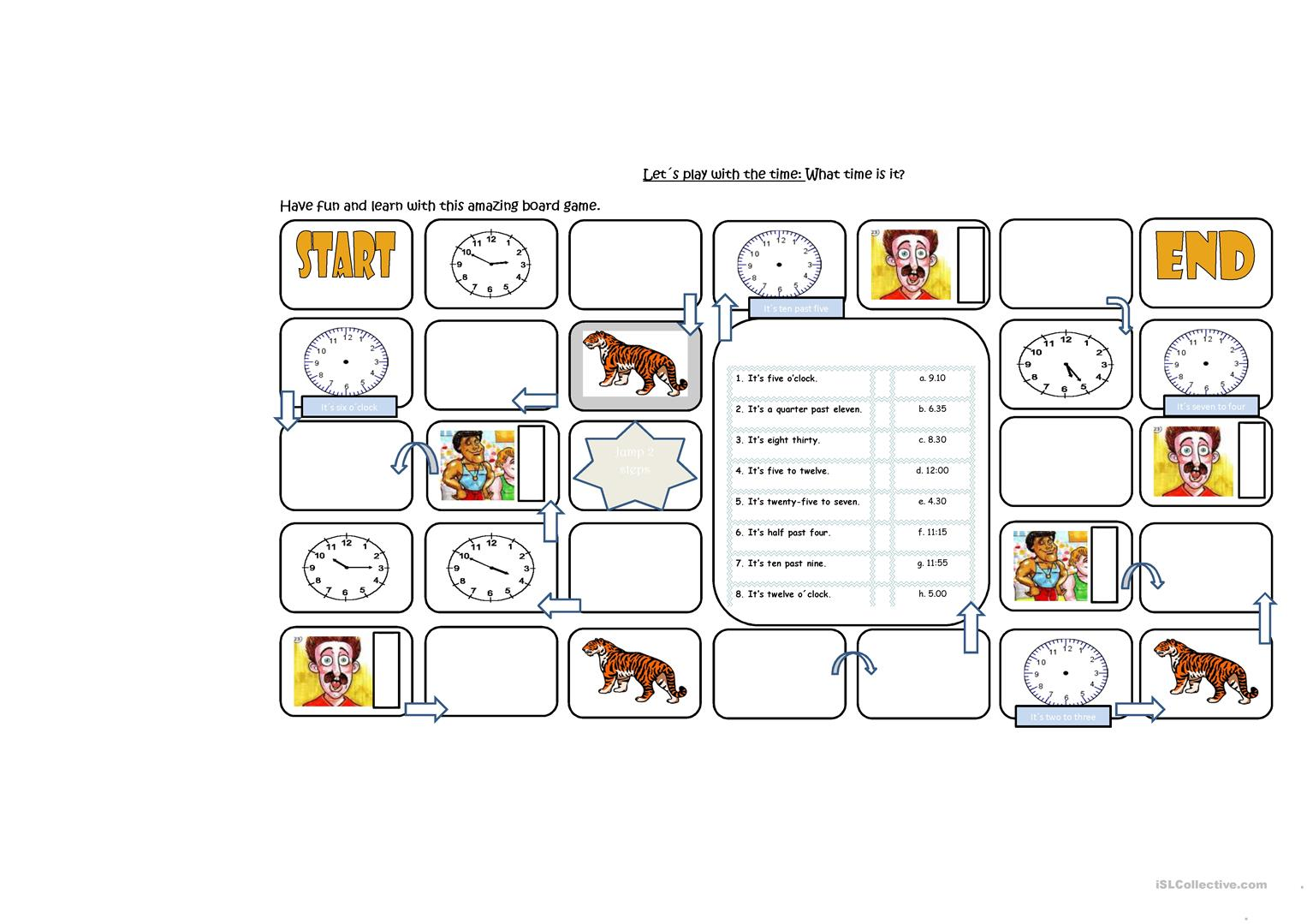 Telling The Time Board Game Worksheet