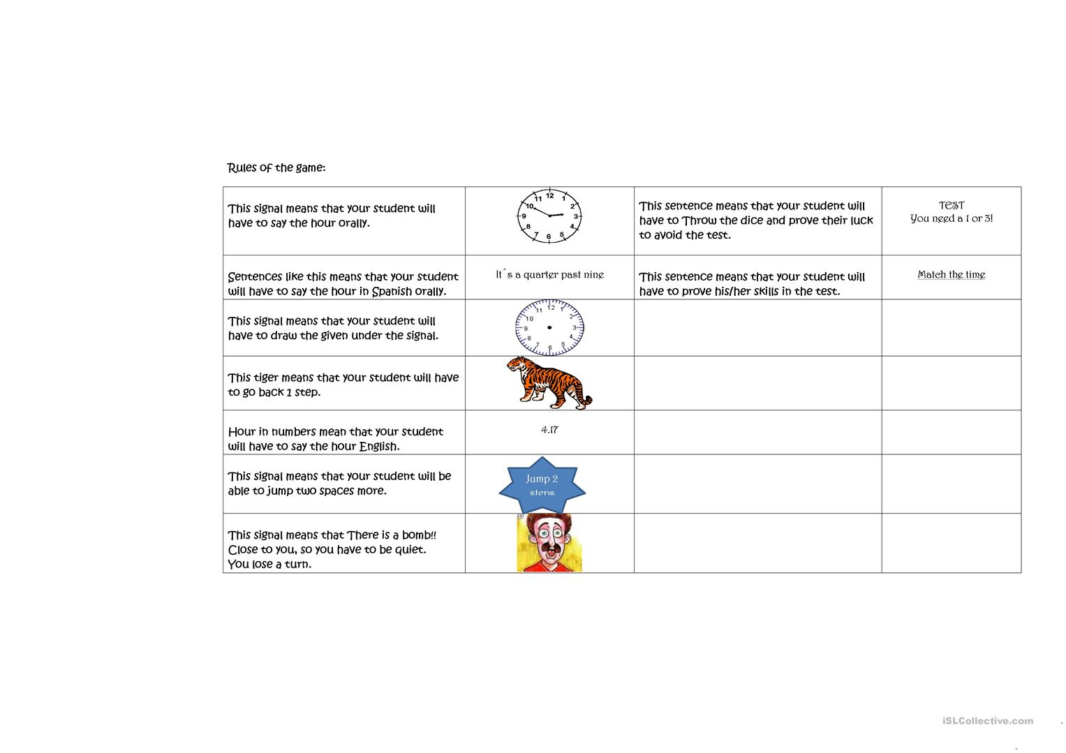 Telling Time Game Worksheet