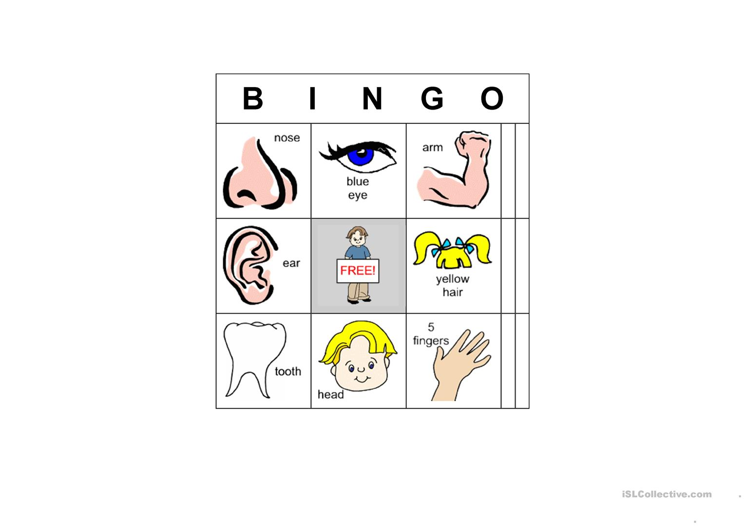 Bingo Body Parts Worksheet
