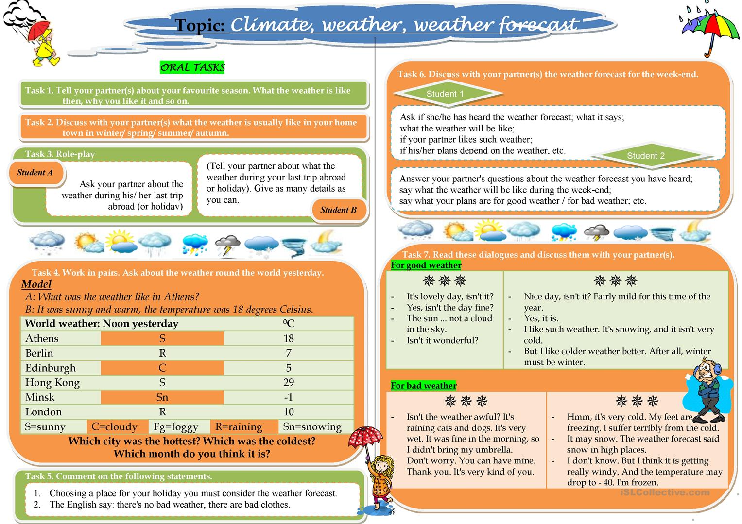 Climate Weather Weather Forecast Worksheet