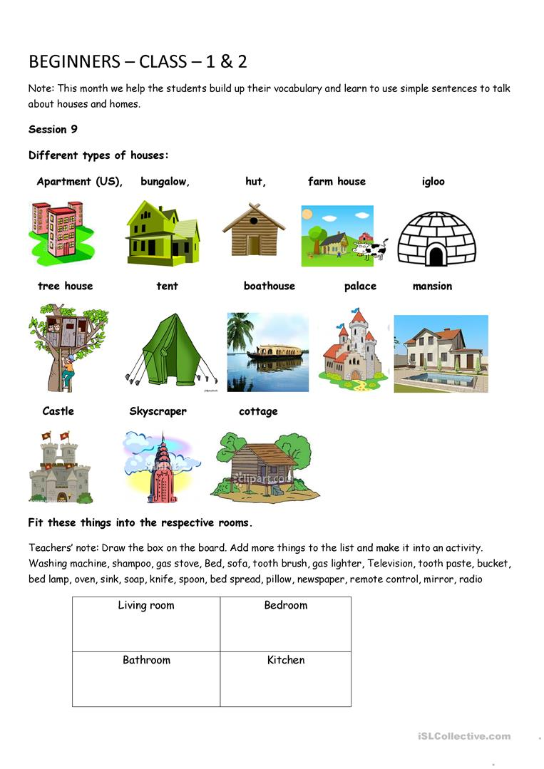 hight resolution of Houses and home - English ESL Worksheets for distance learning and physical  classrooms