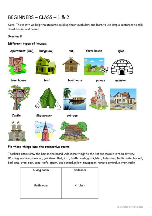 small resolution of Houses and home - English ESL Worksheets for distance learning and physical  classrooms