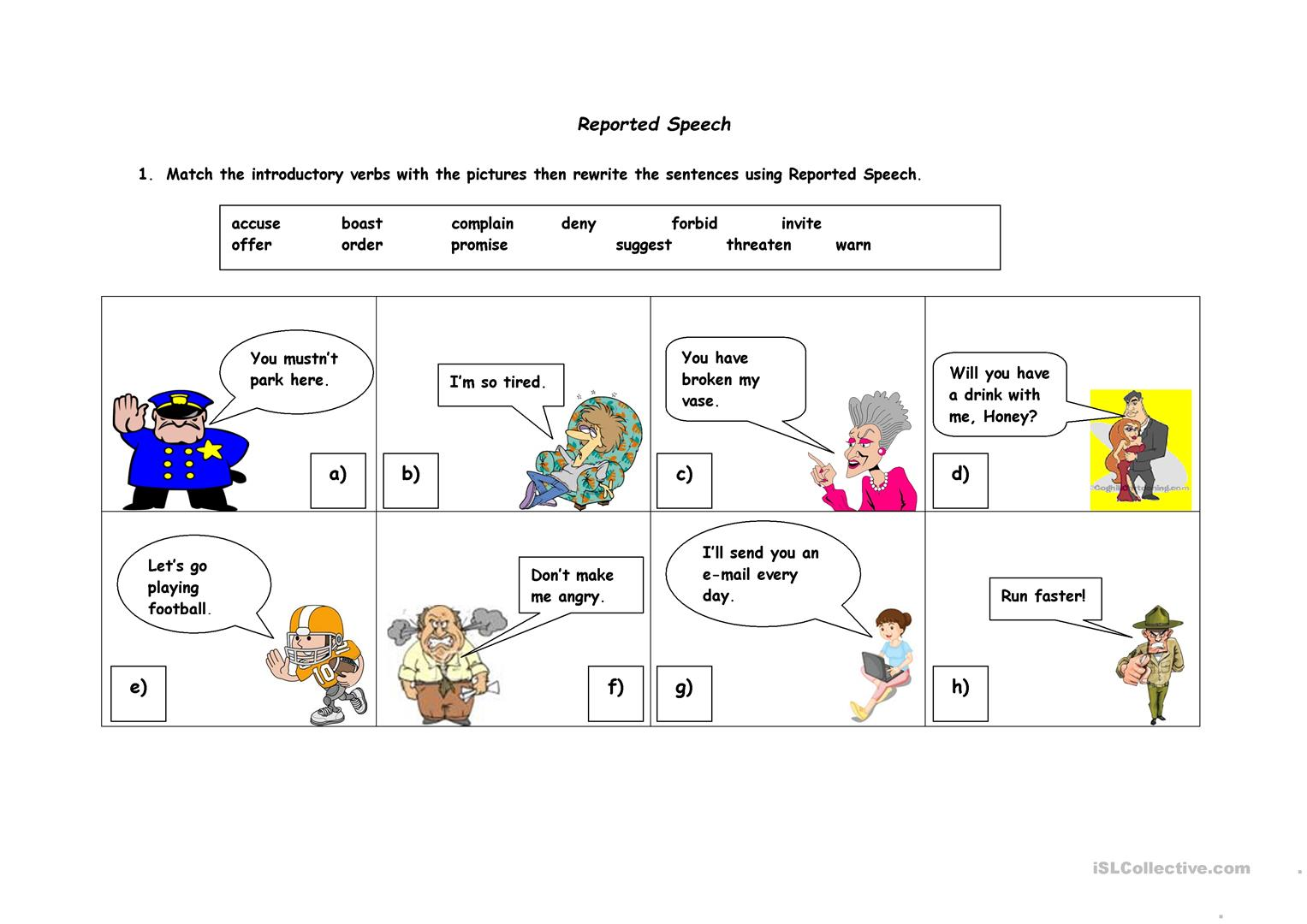Reported Speech Worksheet