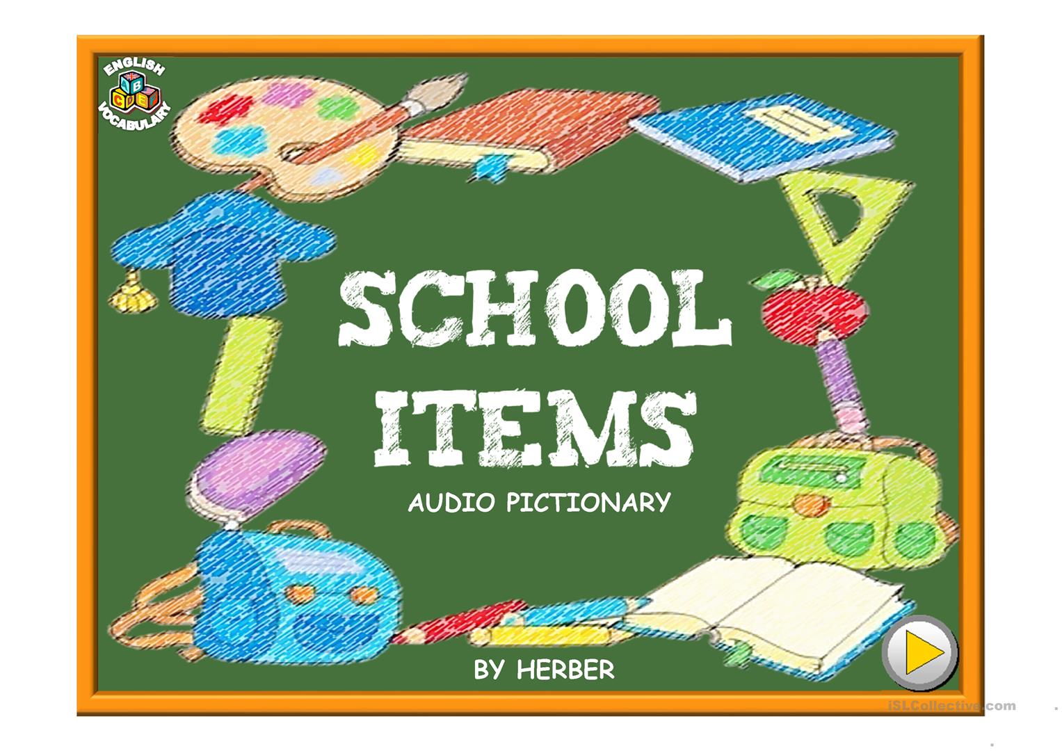 School Items Pictionary Ppt Worksheet