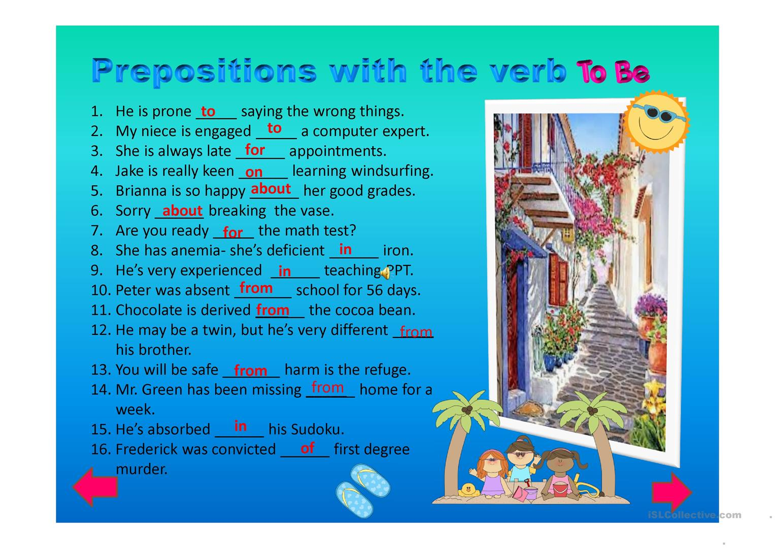 Advanced Level Prepositions With The Verb To Be Ppt