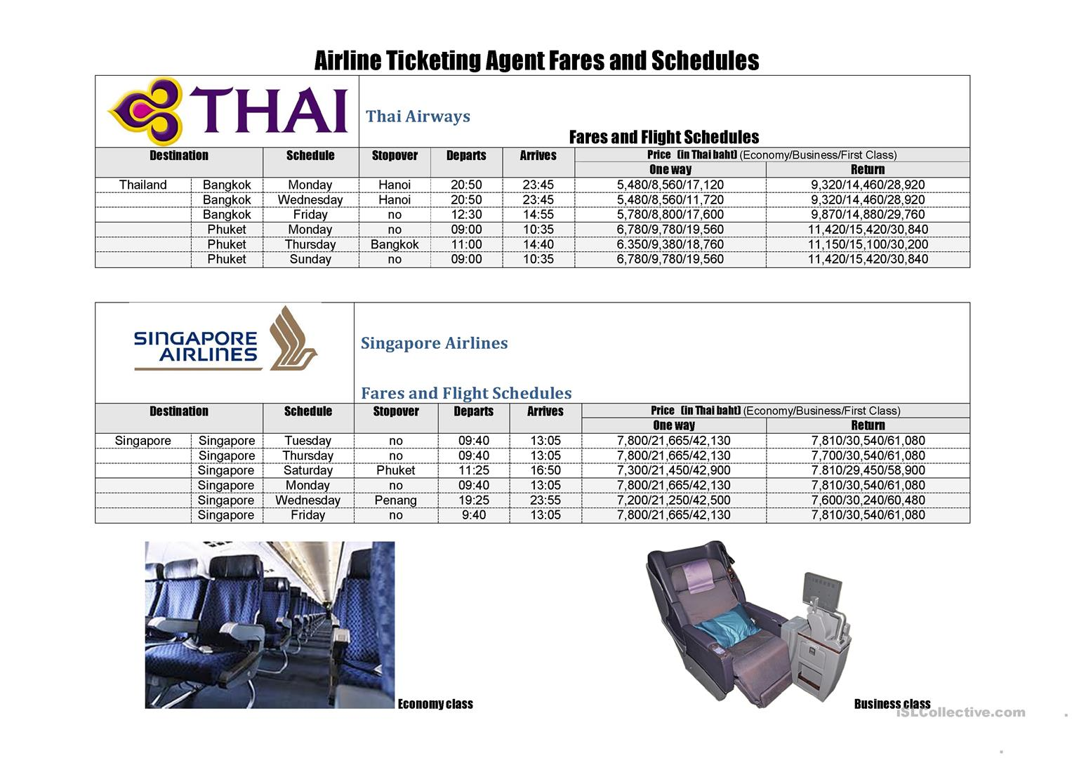 Buying An Airline Ticket Worksheet