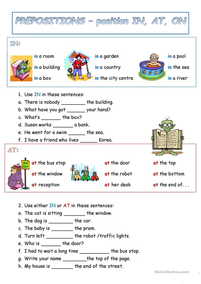 Preposition Of Position To At On Worksheet
