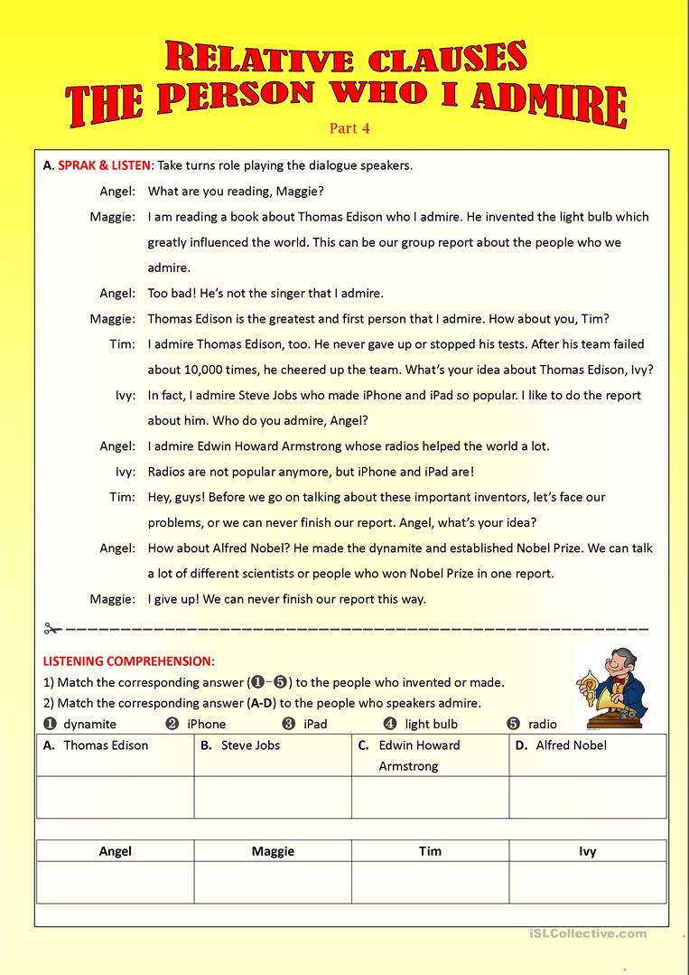 hight resolution of Relative Clauses-Part 4 - English ESL Worksheets for distance learning and  physical classrooms