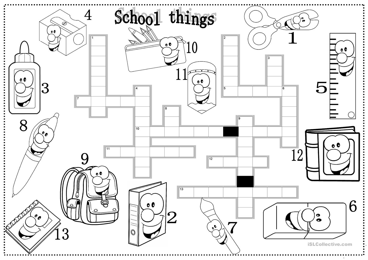 School Things Worksheet