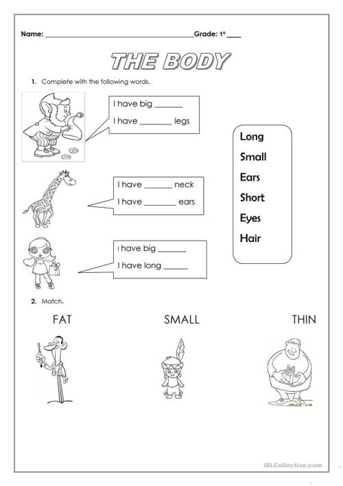 small resolution of the body and adjectives - English ESL Worksheets for distance learning and  physical classrooms
