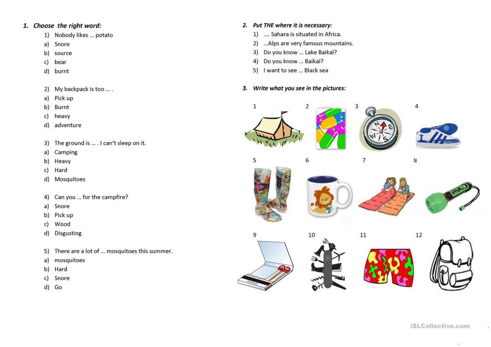 medium resolution of 7th grade - Camping - Test - Kaufman - English ESL Worksheets for distance  learning and physical classrooms