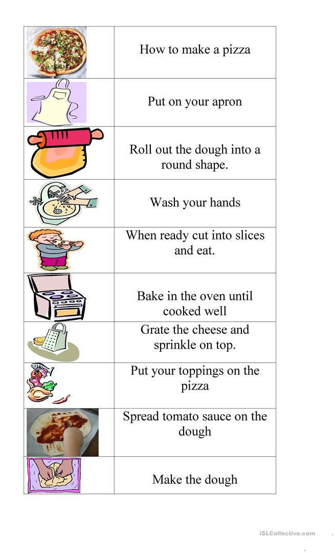 How To Make Pizza Worksheet