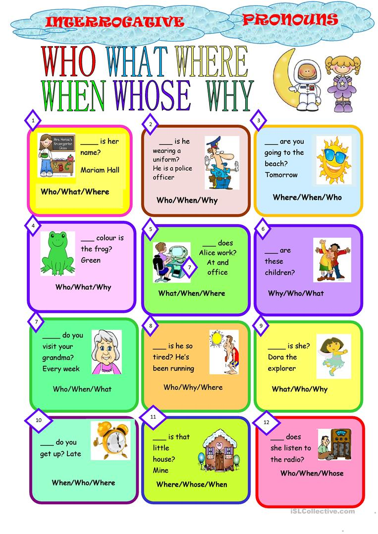 hight resolution of English ESL interrogative pronouns worksheets - Most downloaded (8 Results)