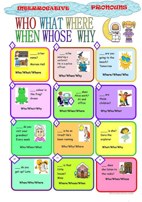 small resolution of English ESL interrogative pronouns worksheets - Most downloaded (8 Results)