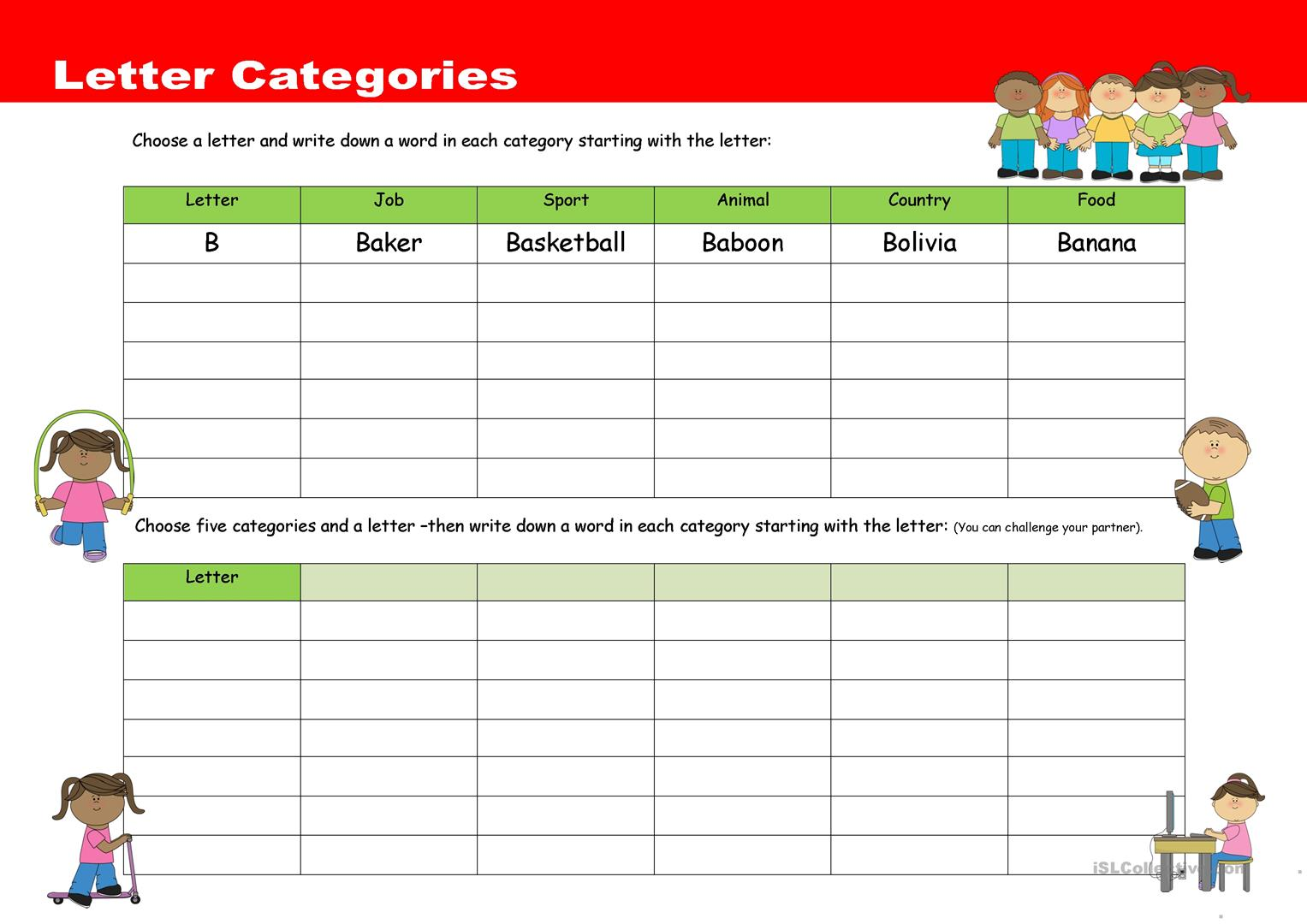 Letter Categories Worksheet