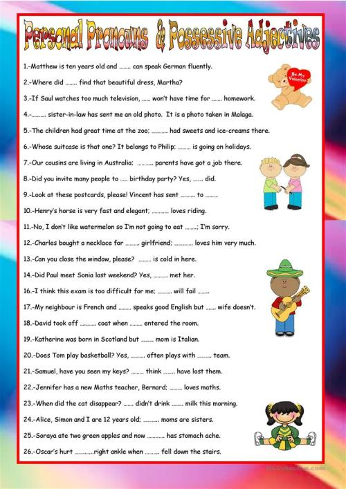 small resolution of Personal Pronouns And Possessive Pronouns Exercises   Exercise